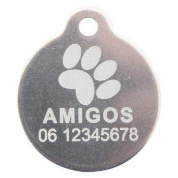 Goedkope hondenpenning budget rond met oog RVS bij Hondenpenning.net HETDIER.nl AnimalWebshp.com Amigos-animals.com honden penning
