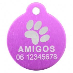 Goedkope hondenpenning budget rond met oog paars bij Hondenpenning.net HETDIER.nl AnimalWebshp.com Amigos-animals.com