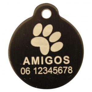 Goedkope hondenpenning budget rond met oog zwart bij Hondenpenning.net HETDIER.nl AnimalWebshp.com Amigos-animals.com