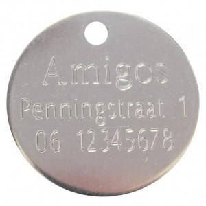 Standaard hondenpenning graveren rond RVS bij Hondenpenning.net HETDIER.nl AnimalWebshp.com Amigos-animals.com