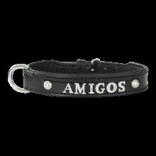 Halsband met naam letterhalsband naamhalsband zwart Hondenpenning.net Amigos AnimalWebshop.com