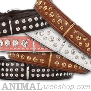 Lederen halsbanden bling met swarovski bij AnimalWebshop.com Hondenpenning.net HETDIER.nl 1