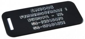 Bagagelabel zwart bij Adrespenning.com Hondenpenning.net HETDIER.nl Amigos
