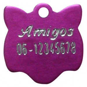 Gegraveerde kattenpenning kattenkopje roze Amigos animals Animalwebshop Hondenpenning.net HETDIER.nl