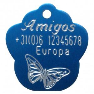 Gegraveerde hondenpenning pootje blauw Amigos animals Animalwebshop Hondenpenning.net HETDIER.nl