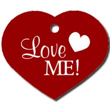 Hartvormige Hondenpenning hart Love me