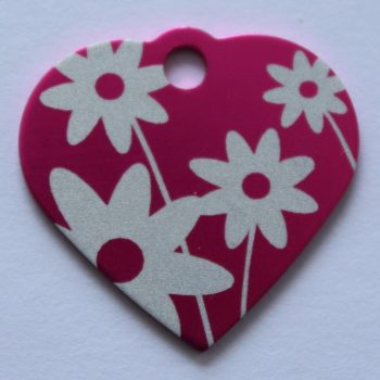 Hondenpenning hart met bloemen roze animalwebshop